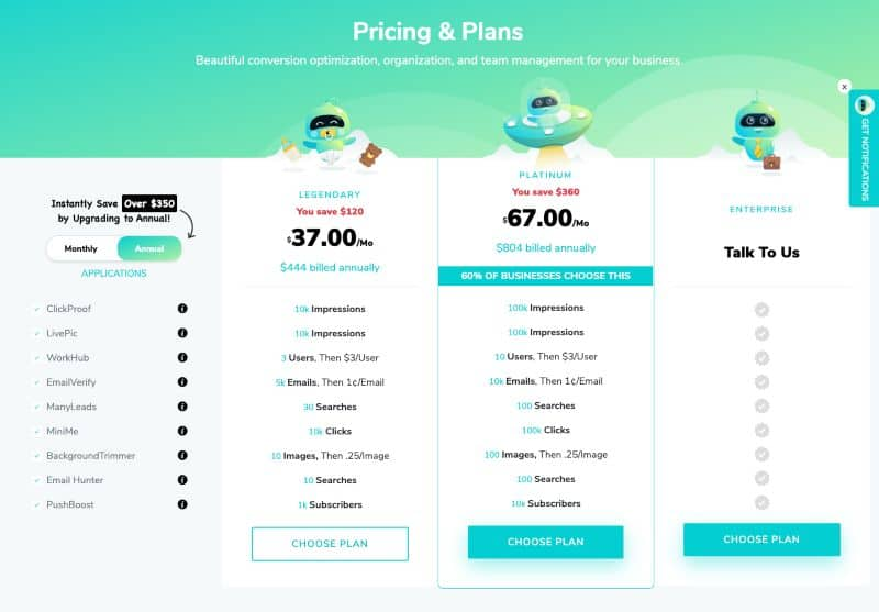 Marketer Magic Pricing Table Annual